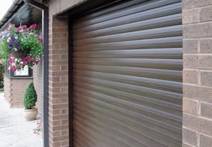 Dark Oak insulated roller garage door