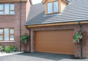 Golden Oak double roller garage door