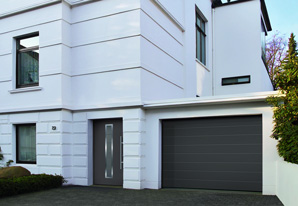 Classic grey ribbed sectional garage door