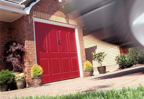 Red arched single garage door